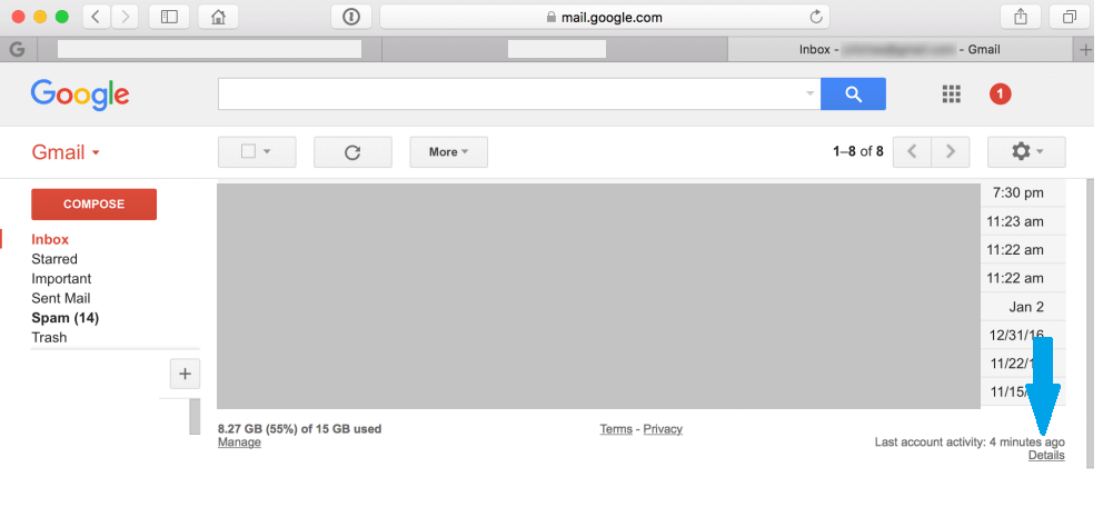 gmail Last account activity
