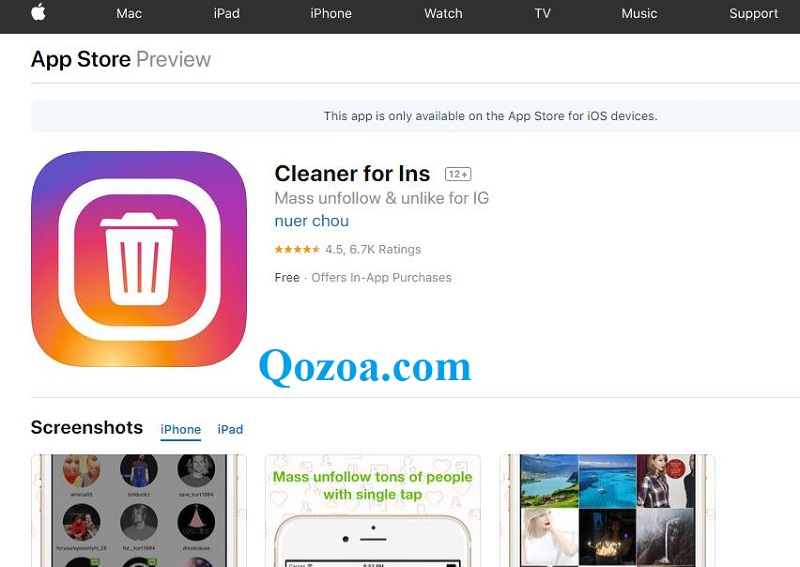 Cleaner for Ins [iOS Devices – iPhone & iPad]